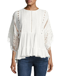 Lumie Lace Inset Poncho Top Off White