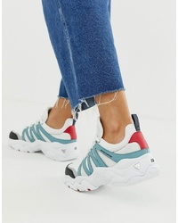 Skechers Dlite Chunky Trainers 30 Overlay In White And Blue