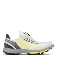 Salomon White And Yellow Amphib Sneakers