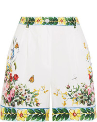 Dolce & Gabbana Printed Cotton Poplin Bermuda Shorts White