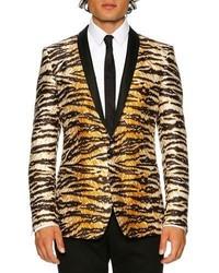 Dolce & Gabbana Tiger Print Shawl Collar Gold Fit Evening Jacket Whiteblackgold