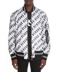 Versus Versace Diagonal Mirror Logo Reversible Bomber Jacket