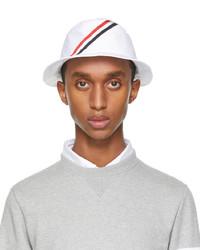 Thom Browne White Diagonal Stripe Bucket Hat