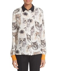 Stella McCartney Cat Print Silk Blouse