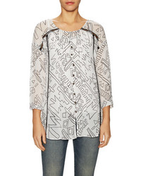 Plenty by tracy reese kurta print pintuck blouse medium 709819