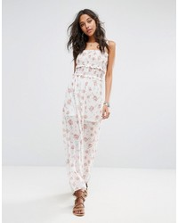 Boohoo Ruched Cami Strap Floral Print Maxi Dress