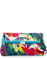 Love Moschino Jungle Print Canvas Clutch Bag White