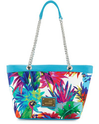 Love Moschino Jungle Print Canvas Shoulder Bag Whiteblue