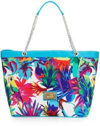 Love Moschino Jungle Print Canvas Shoulder Bag Whiteblue