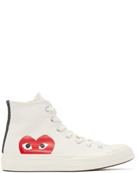 White Print Canvas High Top Sneakers