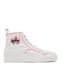 Kenzo White Volkano High Top Sneakers