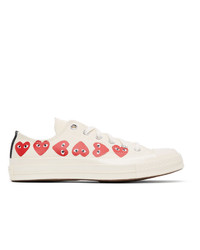 Comme Des Garcons Play Off White Converse Edition Multiple Hearts Chuck 70 Low Sneakers