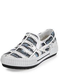 Hevyn wave print slip on sneaker whiteblue medium 72883