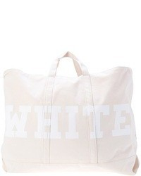 White Print Canvas Tote Bag