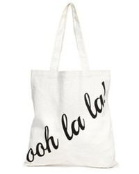 Asos Ooh La La Canvas Shopper Bag White