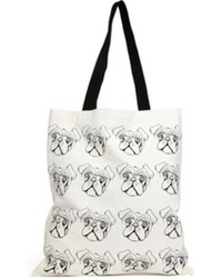 Asos Pug Canvas Shopper Bag Multi