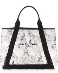Balenciaga Cabas Medium Marble Print Tote Bag Whitenavy
