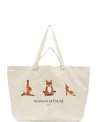 MAISON KITSUNÉ Off White Xxl 3 Yoga Foxes Tote