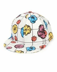 Moschino Floral Leather Baseball Cap Whitemulticolor