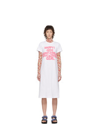 Comme Des Garçons Girl White Cotton Logo T Shirt Dress