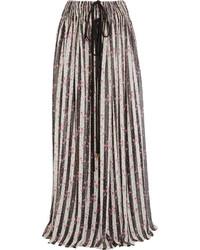 Lanvin Printed Silk Chiffon Maxi Skirt White