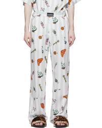 Vetements White Stripe Graphic Breakfast Trousers