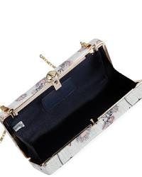 Neiman Marcus Flower Print Linen Box Clutch Bag Ivory
