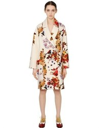 Floral fruit print viscose blend coat medium 305833