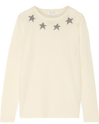 Bella Freud Star Spangle Metallic Intarsia Cashmere Blend Sweater Ivory