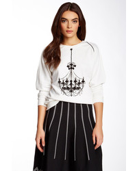 Gracia Embellished Chandelier Print Sweater