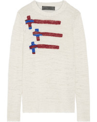 The Elder Statesman Flying Crosses Intarsia Cashmere Sweater Off White