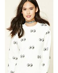 Forever 21 Eyes Fleece Sweatshirt