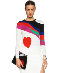 Alexander McQueen Printed Loose Wool Crew Neck Sweater