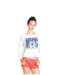 Soho Girl Lovely Nyc Print Sweater White