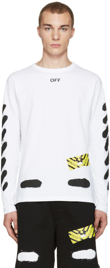 a40c5385a0ad ... Sweaters Off-White White Diagonal Spray Long Sleeve T Shirt ...
