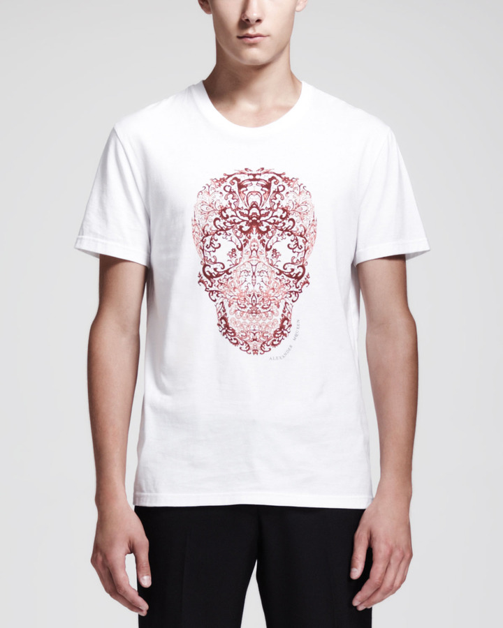 Alexander McQueen Lace Skull Print Short Sleeve Tee ...