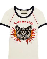 Appliqud printed cotton jersey t shirt white medium 3639569