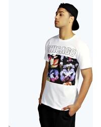 Boohoo Mesh Panelled Printed T Shirt