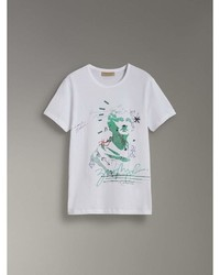 Burberry Bust Print Mlange Cotton T Shirt