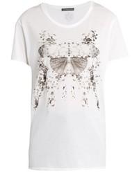 Alexander McQueen Butterfly Print Cotton Jersey T Shirt