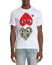Comme Des Garcons Play Camo Double Heart T Shirt