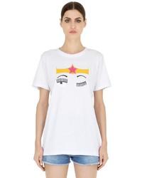 Chiara Ferragni Flirting Cotton Jersey T Shirt