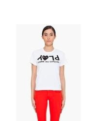 Comme Des Garons Play White Play Print T Shirt