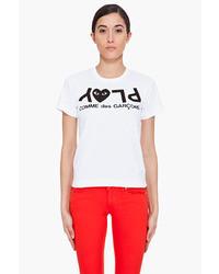 Comme des Garcons Comme Des Garons Play White Play Print T Shirt