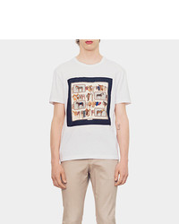 Gucci Cotton Jersey T Shirt With Frame Print Silk Panel