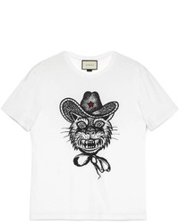 Gucci Cotton T Shirt With Cat Print