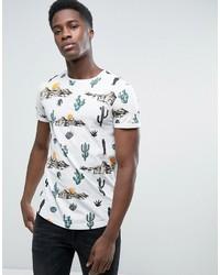 Esprit Crew Neck T Shirt With Cactus Print