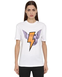 McQ by Alexander McQueen Crystal Haze Printed Cotton T Shirt