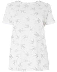 Dp Curve Ivory Bird Printed T Shirt