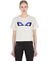Fendi Monster Cropped Cotton Jersey T Shirt